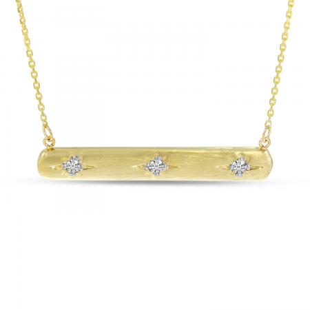 14K Yellow Gold 3 Diamond Brushed Gold Bar Necklace