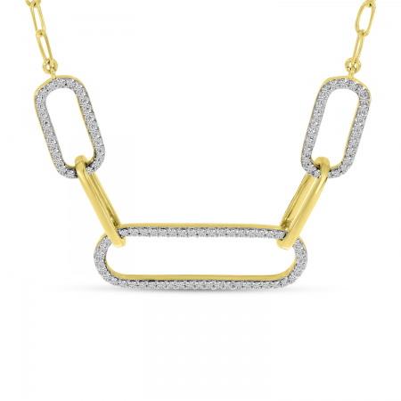 14K Yellow Gold Triple Paperclip Diamond Necklace
