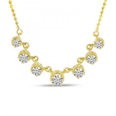 14K Yellow Gold 7 Graduated Diamond Necklace