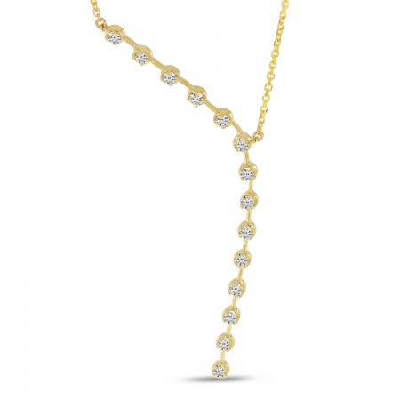 14K Yellow Gold Asymmetrical Diamond Necklace