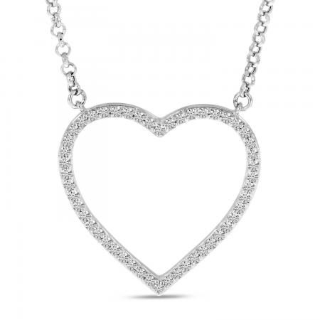 14K White Gold Diamond Open Classic Heart Necklace