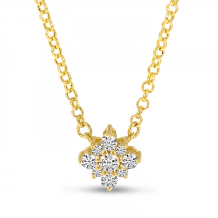 14K Yellow Gold Small Diamond Clustaire Necklace