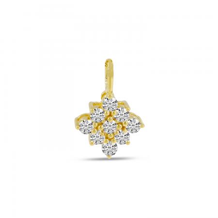 14K Yellow Gold Diamond Clustaire Pendant