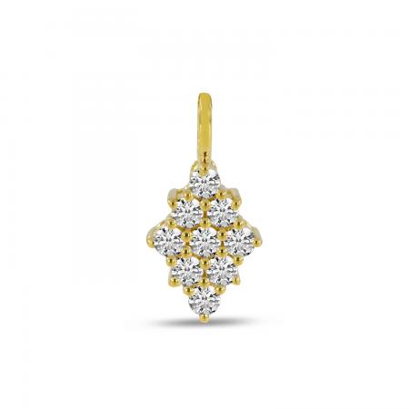 14K Yellow Gold Diamond Shape Clustaire Pendant