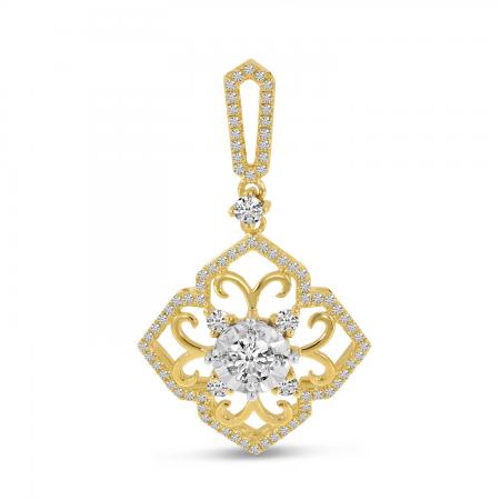 14K Yellow Gold Diamond & Gold Filigree Pendant