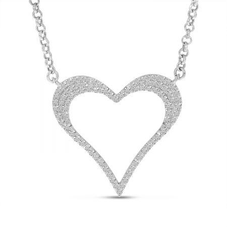 14K White Gold Diamond Open Heart Necklace