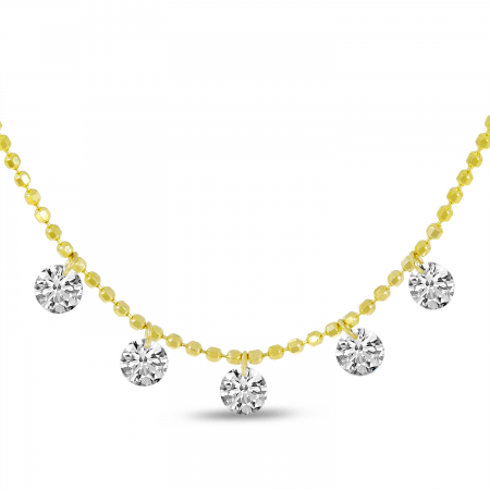 14K Yellow Gold Dashing Diamond 5-Diamond Cluster Necklace