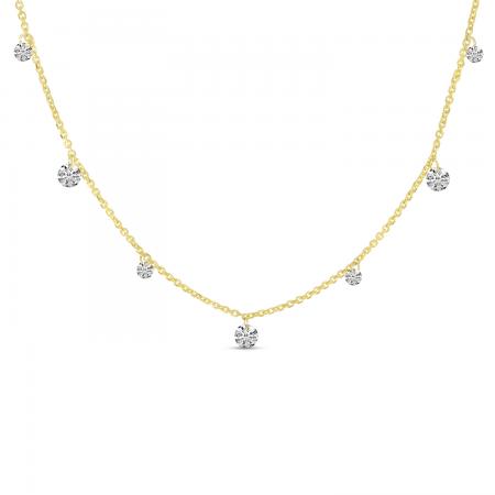 14K Yellow Gold Dashing Diamond 7-Stone Necklace