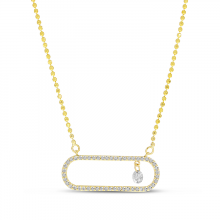 14K Yellow Gold Dashing Diamond In Paperclip Necklace