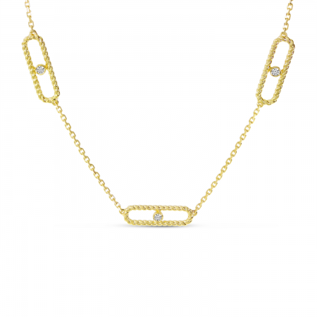 14K Yellow Gold 5-Station Paperclip Necklace
