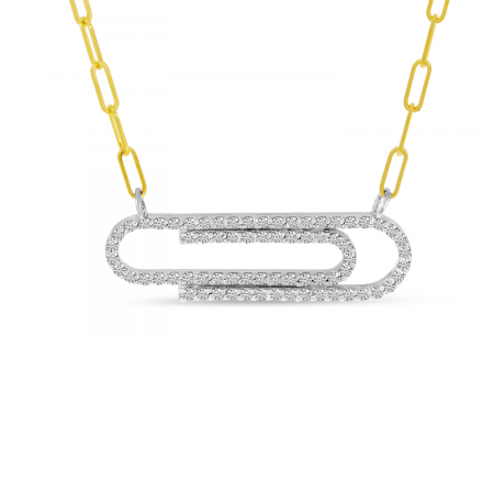 14K Yellow Gold Diamond Classic Paperclip Necklace