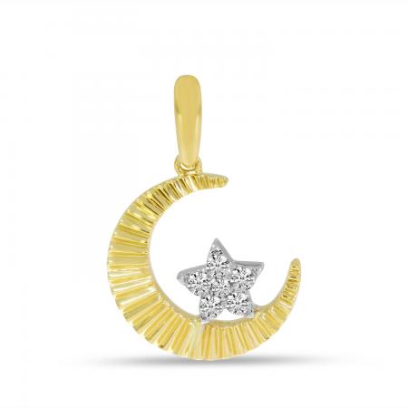 14K Yellow Gold Textured Moon & Diamond Star Pendant