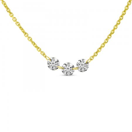 14K Yellow Gold Dashing Diamond 3-Diamond Necklace