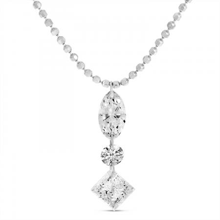 14K White Gold Dashing Diamonds Marquis Princess Cut Drop Necklace