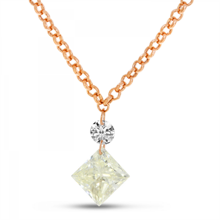 14K Yellow Gold Dashing Diamond Princess Cut Drop Necklace