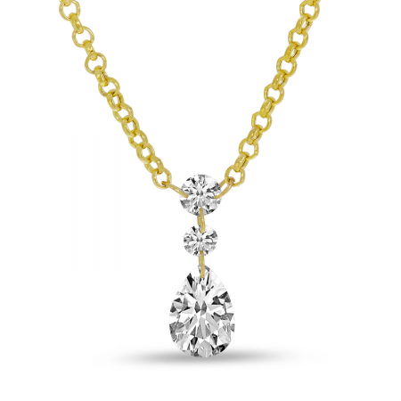 14K Yellow Gold Dashing Diamonds Pear Drop Necklace