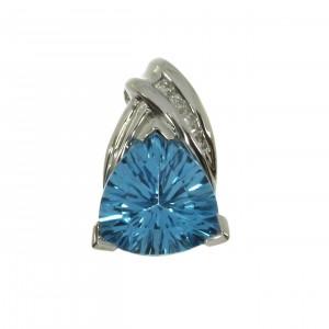 14K White Gold 8mm Trillion Blue Topaz and Diamond Semi Precious Slide Pendant