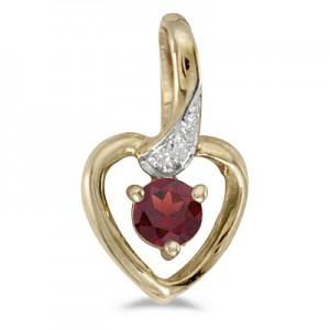 10k Yellow Gold Round Garnet And Diamond Heart Pendant