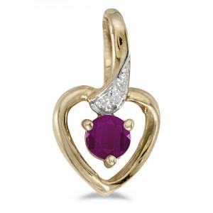10k Yellow Gold Round Ruby And Diamond Heart Pendant