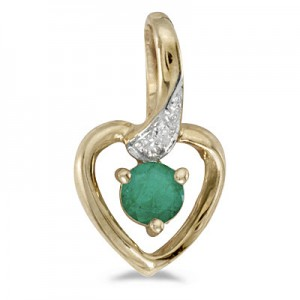 14k Yellow Gold Round Emerald And Diamond Heart Pendant