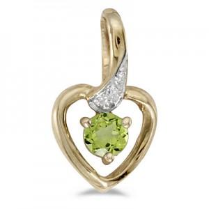 14k Yellow Gold Round Peridot And Diamond Heart Pendant