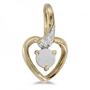 14k Yellow Gold Round Opal And Diamond Heart Pendant