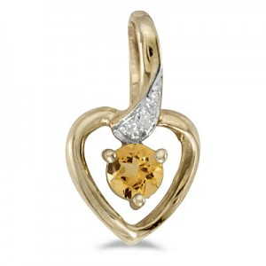 14k Yellow Gold Round Citrine And Diamond Heart Pendant