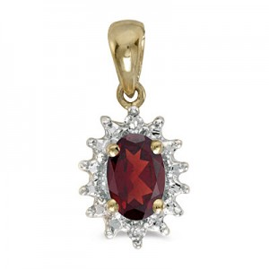 14k Yellow Gold Oval Garnet And Diamond Pendant