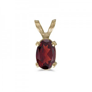 14k Yellow Gold Oval Garnet Pendant