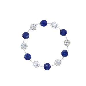 14k White Gold Precious and Diamond Circle Pendant