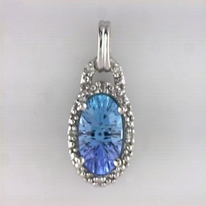 14k White Gold Gemstone and Diamond Pendant