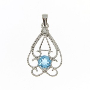 14K White Gold Round Blue Topaz and Diamond Filigree Semi Precious Fashion Penda