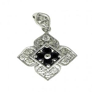 14k White Gold Sapphire and Diamond Flower Pendant