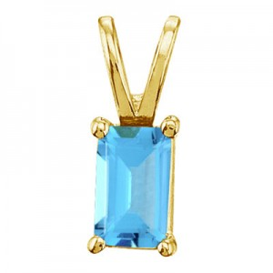 14K Yellow Gold Emerald Cut Blue Topaz Pendant