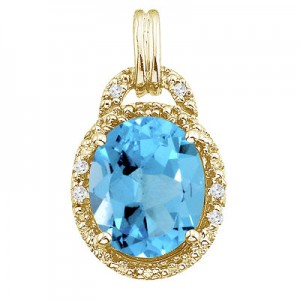 14K Yellow Gold 10x8 Oval Blue Topaz and Diamond Pendant