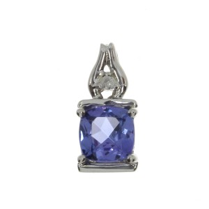 14K White Gold 6mm Cushion Tanzanite and Diamond Pendant