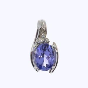 14K White Gold 7x5 Oval Tanzanite and Diamond Pendant