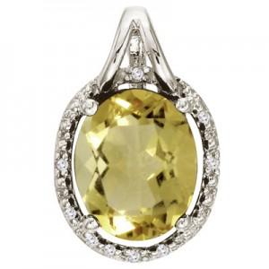 14K White Gold Lemon Quartz and Diamond Oval Pendant