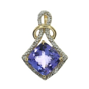 14K Yellow Gold 8mm Cushion Tanzanite and Diamond Pendant