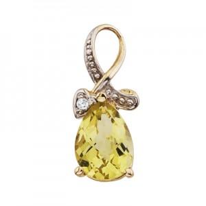 14k Yellow Gold Pear Lemon Quartz and Diamond Swirl Pendant