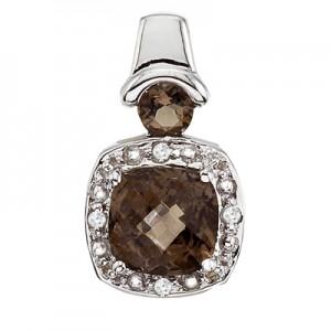 14K White Gold Smoky Topaz and Diamond Pendant