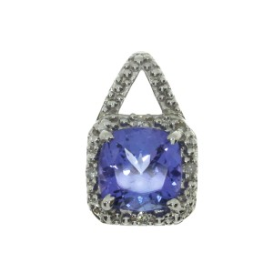 14K White Gold 7mm Cushion Tanzanite and Diamond Rope Pendant