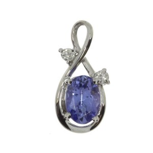 14K White Gold 7x5 Oval Tanzanite and Diamond Swirl Pendant