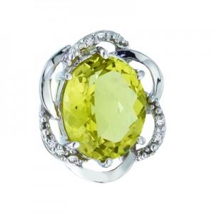 14K White Gold 11x9 Oval Lemon Quartz and Diamond Swirl Pendant