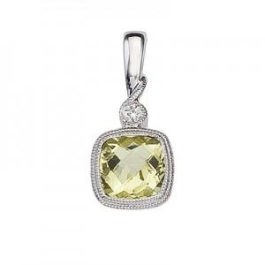 14K White Gold Lemon Quartz and Diamond Pendant