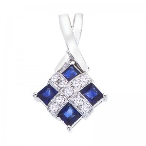 14K White Gold Precious Princess Sapphire and Diamond Fashion Pendant