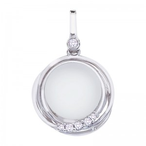 14K White Gold Frosted 10 mm Round White Topaz Cabochons Fashion Pendant