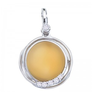 14K White Gold Frosted 10 mm Round Citrine Cabochons Fashion Pendant
