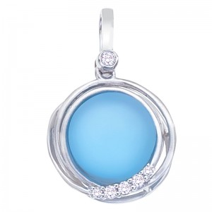 14K White Gold Frosted 10 mm Round Blue Topaz Cabochons Fashion Pendant