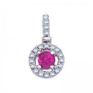 14K White Gold 3.8 mm Round Ruby and Diamond Fashion Pendant